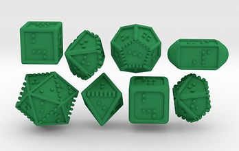 3d render of green braille dice.