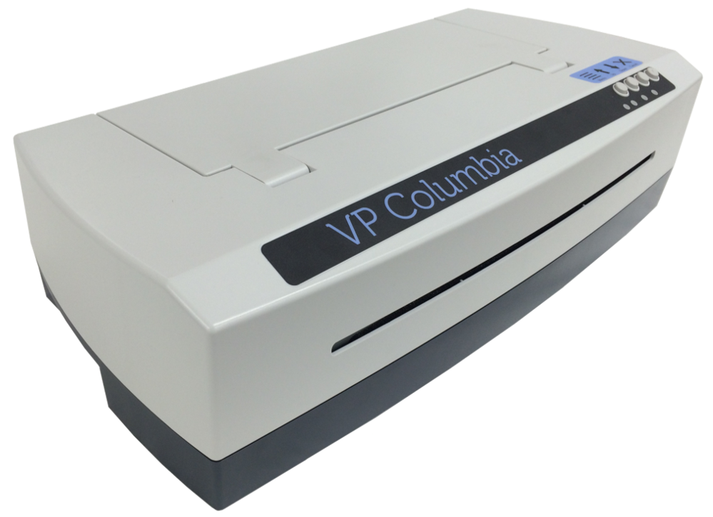 VP Columbia braille embosser - a long rectangular device with buttons on the top and opening for embossed paper in the front.
