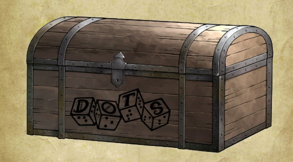 DOTS Gear chest: sketch of a closed wooden treasure chest with metal banding on edges, DOTS logo on the front..
