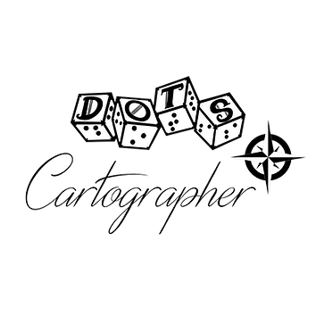 DOTS logo with script style text cartographer and an image of a compass rose.
