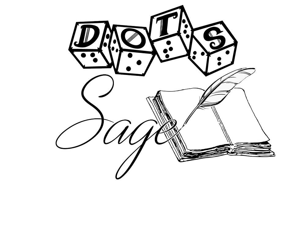 "DOTS sage logo - DOTS 4d6 logo with text ""sage"" and graphic of feather quill on book, finishing the end of the word sage onto the page"