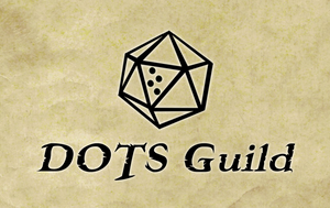 DOTS Guild logo - d20 with one face showing braille letter T. DOTS Guild text written underneath d20