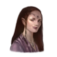 Fantasy portrait of Jess. Long dark hair, light skinned, purple blouse. She has pointed elf ears, a circlet with amethyst on her forehead, and a necklace with a star