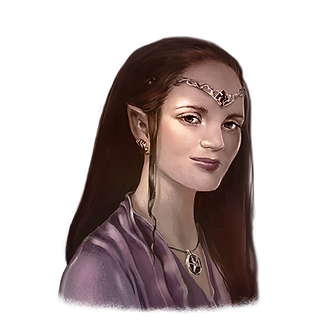 Fantasy portrait of Jess. Long dark hair, light skinned, purple blouse. She has pointed elf ears, a circlet with amethyst on her forehead, and a necklace with a star.