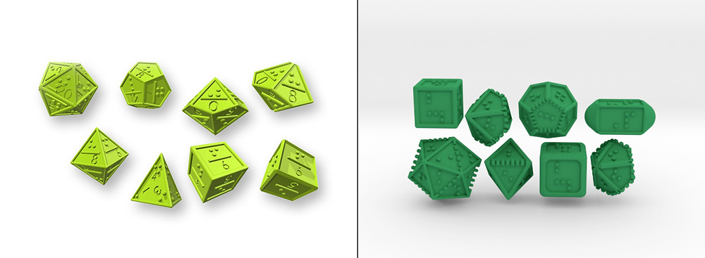 Two 3D rendered sets of braille dice. Version 1 had cramped braille to fit engraved numbers on the face as well, the current design has no engraved numbers so the braille is easier to read.