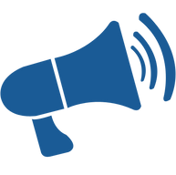 Blue megaphone with sound waves.