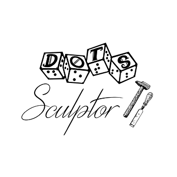 DOTS logo with script style text sculptor and an image of a hammer and chisel.