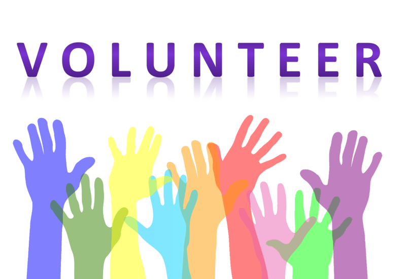 "Text ""Volunteer"" with raised hands in a rainbow of color."