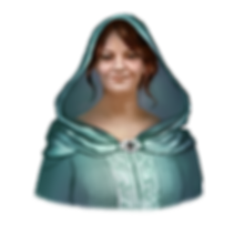 Fantasy painting of Tawney. She has pale skin and deep red hair pulled back into a bun. She's wearing teal robes with a large hood that drapes from her head to her shoulders. The hood is pinned with an ornate buckle, just above the stitching designs on the chest.