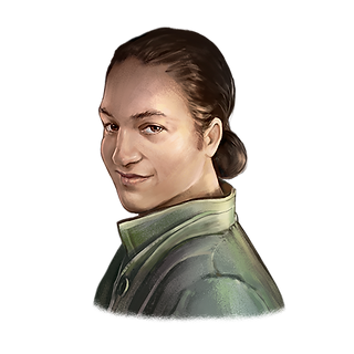 Fantasy painting of Joey. Medum skin tone and long dark hair pulled back wearing a green shirt with high collar and big buttons on the chest.