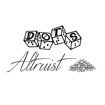 dots 4d6 logo with text reading altruist and an image of a pile of gold coins
