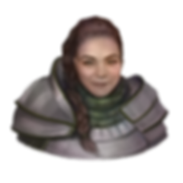 Fantasy painting of Delilah. She has pale skin and long dark hair pulled to the side in a braid that drapes down her chest. She's wearing paladin heavy armor in a deep silver with deep green accents and fabric.
