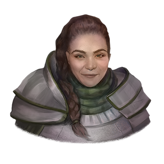 Fantasy painting of Lilah. She has pale skin and long dark hair pulled to the side in a braid that drapes down her chest. She's wearing paladin heavy armor in a deep silver with deep green accents and fabric.