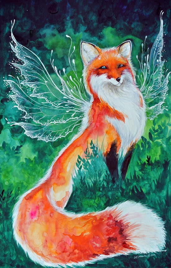 Painting of a fox nestled in greenery of a forest floor. The fox has clear fairy wings, outlined in white.