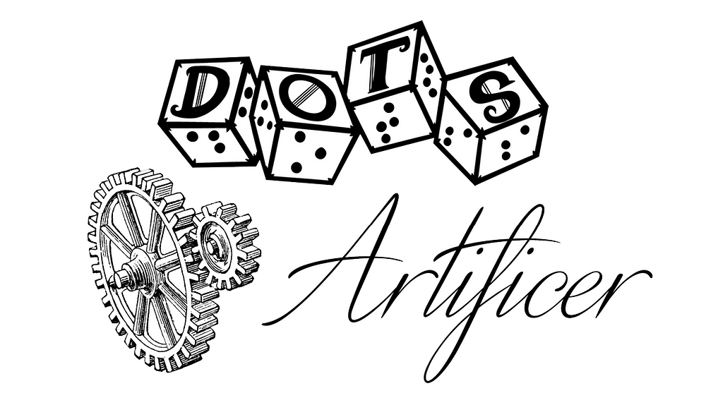 DOTS logo of 4d6 with letters and braille on each face. Text Artificer in script next to a set of gears