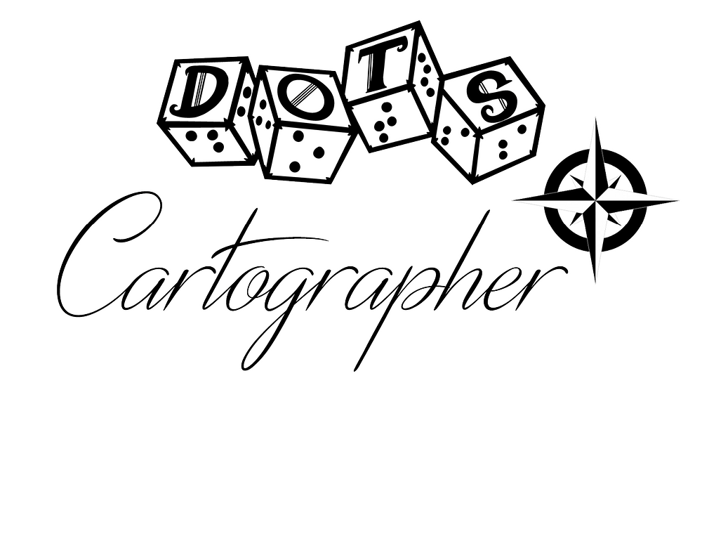 "DOTS Cartographer logo - DOTS 4d6 logo with text ""cartographer"" and compass rose graphic"