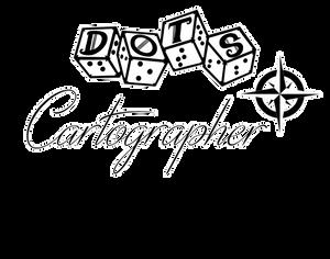 "DOTS Cartographer logo - DOTS 4d6 logo with text ""cartographer"" and compass rose graphic"