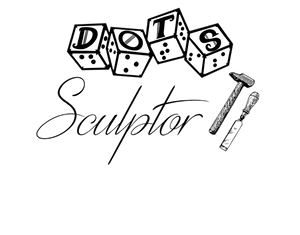 """DOTS sculptor logo - DOTS 4d6 logo with text """"sculptor"""" and graphic of hammer and chisel"""