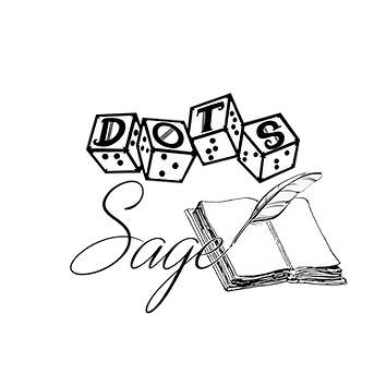DOTS logo with script style text sage and an image of an open blank book and feathered ink quill.