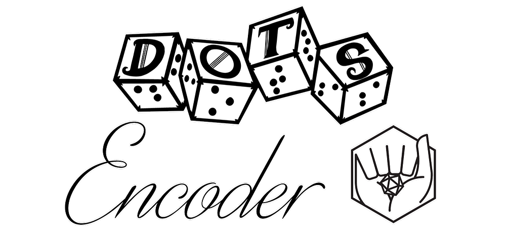 "DOTS Encoder logo - DOTS 4d6 with text ""encoder"" below next to ASL for RPG logo"