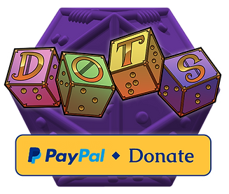 Paypal donate banner underneath DOTS logo. Background is a purple braille d20.