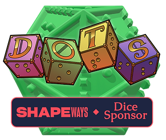 Shapeways dice sponsor banner underneath DOTS logo. Background is a green braille d20.