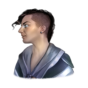 Fantasy painting of Tyler. They have pale skin and almost shoulder length dark hair with a partially shaved side head. Their eyes are glowing a blue light, matching some of the blue tones on their mage robes.