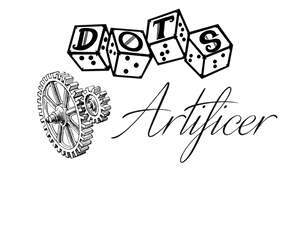 """DOTS Artificer logo - DOTS 4d6 logo with text """"Artificer"""" and gears graphic"""