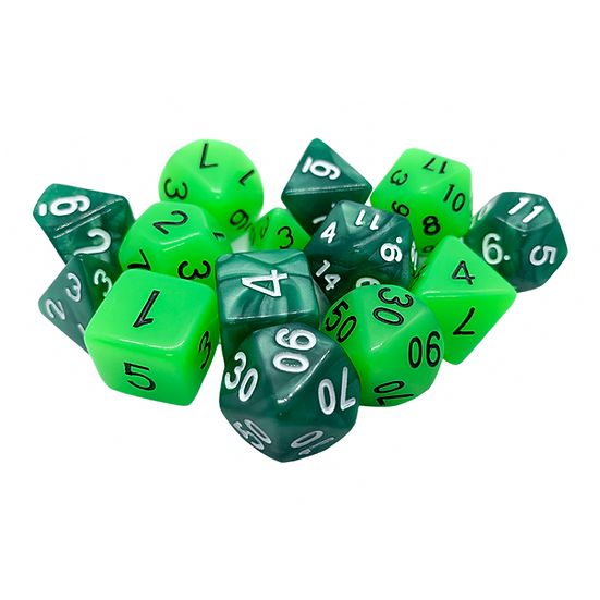Mixed pile of green dice.