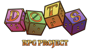DOTS RPG Project logo - 4 six sided dice with letters on top and braille on the side, 1 letter per die. All 4 together spell DOTS. RPG Project text underneath.