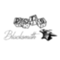 dots 4d6 logo with text reading blacksmith and an image of a hammer laying on an anvil