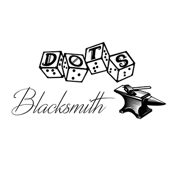 DOTS logo with script style text blacksmith and an image of a hammer laying on an anvil.