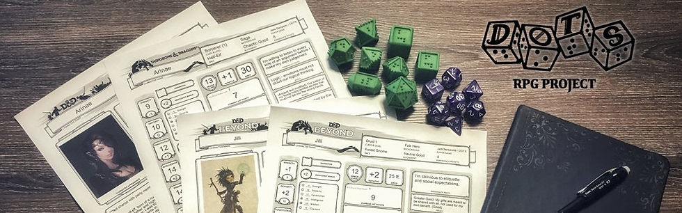 character sheets, noteook, braille dice, regular dice on a table