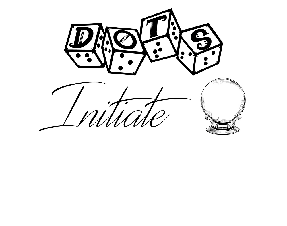 "DOTS initiate logo - dots 4d6 logo with text ""initiate"" and crystal ball graphic"