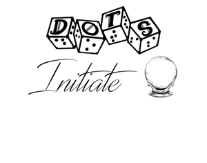 """DOTS initiate logo - dots 4d6 logo with text """"initiate"""" and crystal ball graphic"""