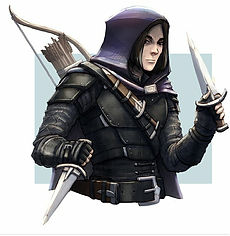 artist unknown. human with pale skin and dark hair, wearing a hooded cape and body armor. bow and arrows on the back, one dagger in each hand