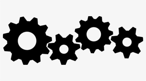 4 gear silhouettes of different sizes, all interlocking.
