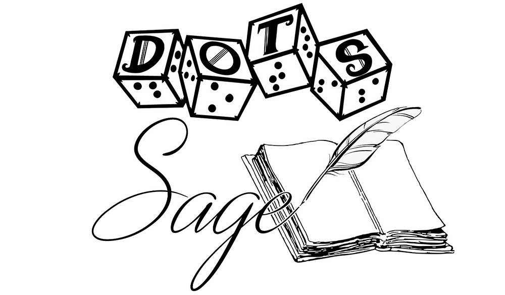 DOTS logo of 4d6 with letters and braille on each face. Text Sage in script next to a blank open book and quill.