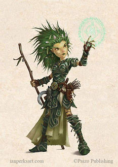 image copyright paizo publishing. small sprite like humanoid creature. shoulder length spikey green hair. green and silver full body medium armor. holding wooden staff, casting magic