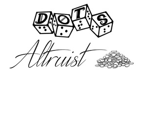 """DOTS Altruist logo - DOTS 4d6 logo with text """"altruist"""" and pile of coins graphic"""