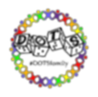 dots family logo. dots 4 d6 with rainbow stick figures in a circle around it