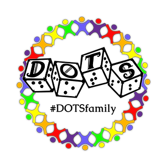 DOTS Family logo. Black and white DOTS logo with rainbow stick figures in a circle around it. Hashtag DOTS Family underneath DOTS logo within rainbow stick figure circle.