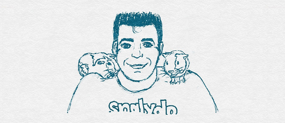 Sketch of a man with short dark hair wearing a t-shirt with the text snalydo and a guinea pig on each shoulder.