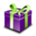 purple present box with green ribbon