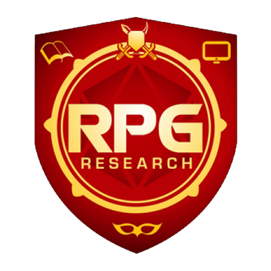 RPG Research logo: Red shield with gold embellishments and the test RPG Research over a polyhedral shadow.