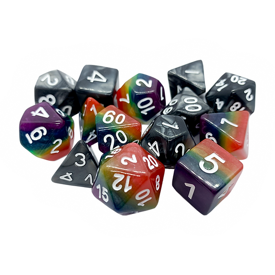 mixed pile of rainbow and black and white dice