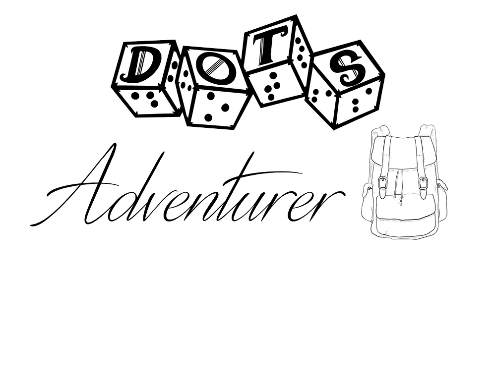 "DOTS Adventurer logo - DOTS 4d6 logo with text ""adventurer"" and satchel graphic"