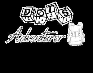 "DOTS Adventurer logo - DOTS 4d6 logo with text ""adventurer"" and satchel graphic"