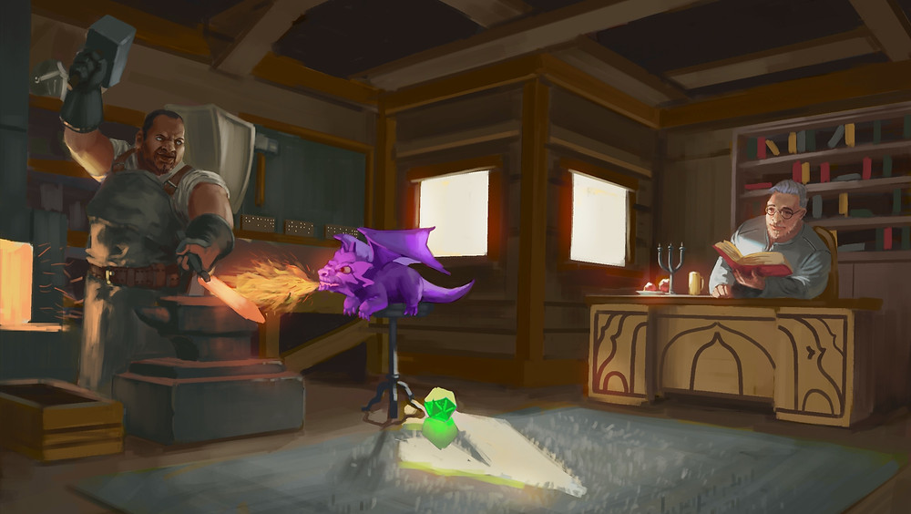 D is standing in front of a forge with a raised hammer and a sword blade on the anvil in front of him. The DOTS Dragon is heating the blade to red hot with his spark filled fire breath. A neon green braille d20 is on the floor at the base of the stool the dragon is on. Jack is on the other side of the room at a desk in front of a book case, reading an open book.