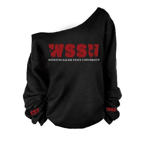 "Cut Off-Shoulder Signature ""WSSU"" EST Sweatshirt"